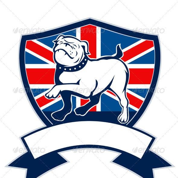 English Bulldog Marching Union Jack Flag