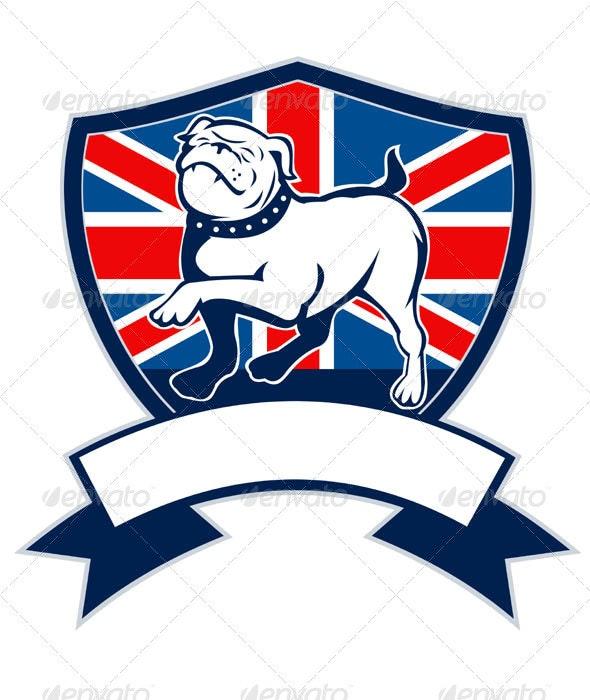English Bulldog Marching Union Jack Flag - Animals Characters