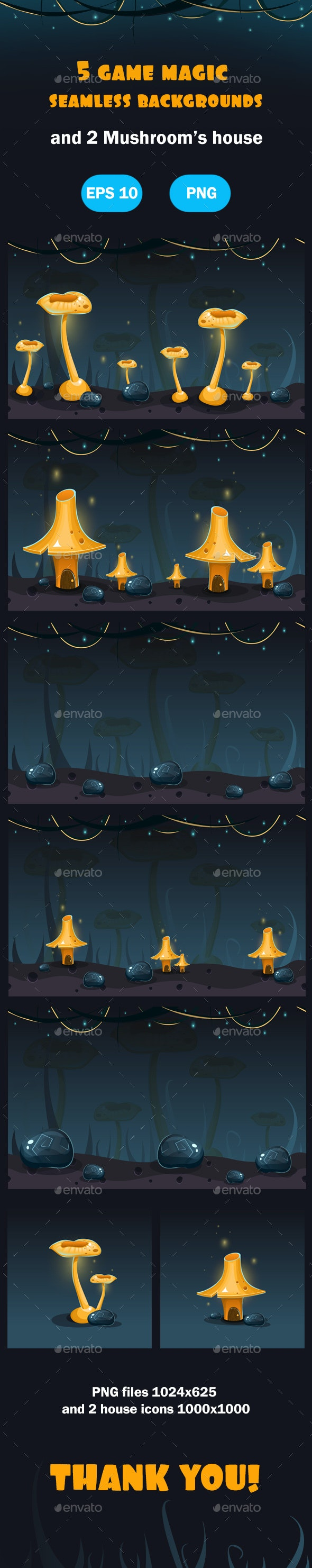 Magic Forest Seamless Backgrounds - Backgrounds Game Assets