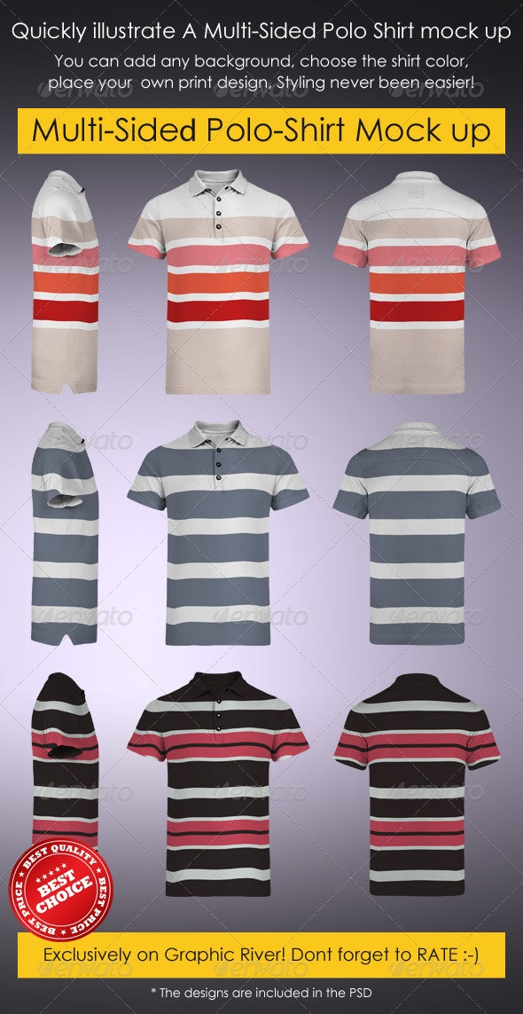 Multi-Sided Polo-Shirt Mock-Up - T-shirts Apparel