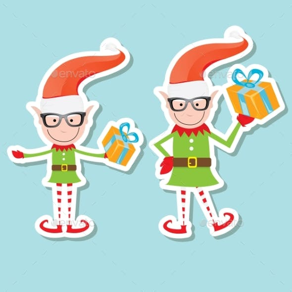 Vector Illustration Of The Playful Santa Elves