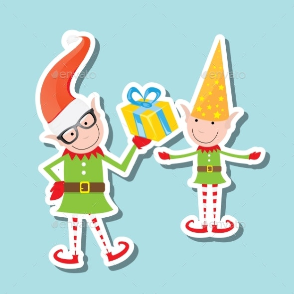 Vector Illustration Of The Playful Santa Elves - People Characters