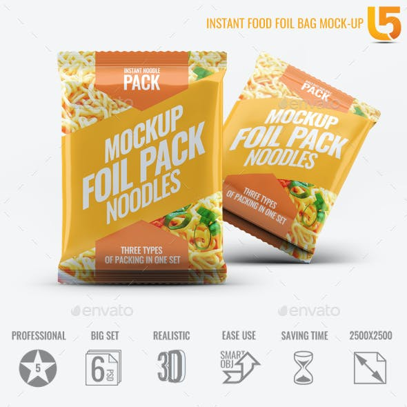 Instant Food Foil Bag Mock-Up