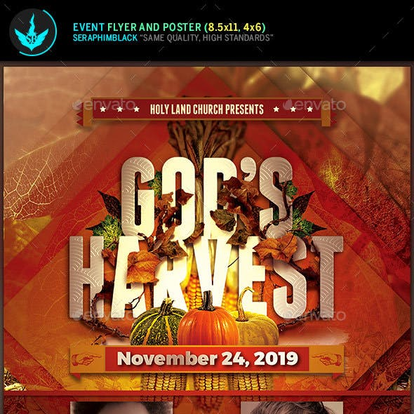 God's Harvest Fall Flyer Template
