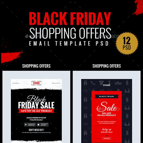 Black Friday - Shopping Offers Email Template PSD