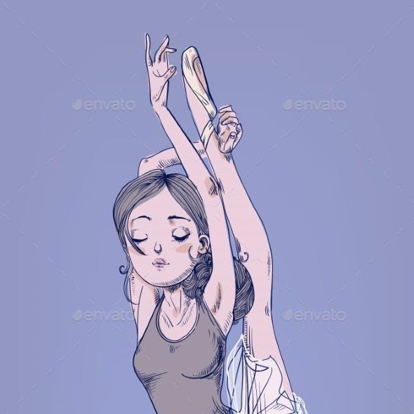 Hand Drawn Illustration with Ballerina Girl