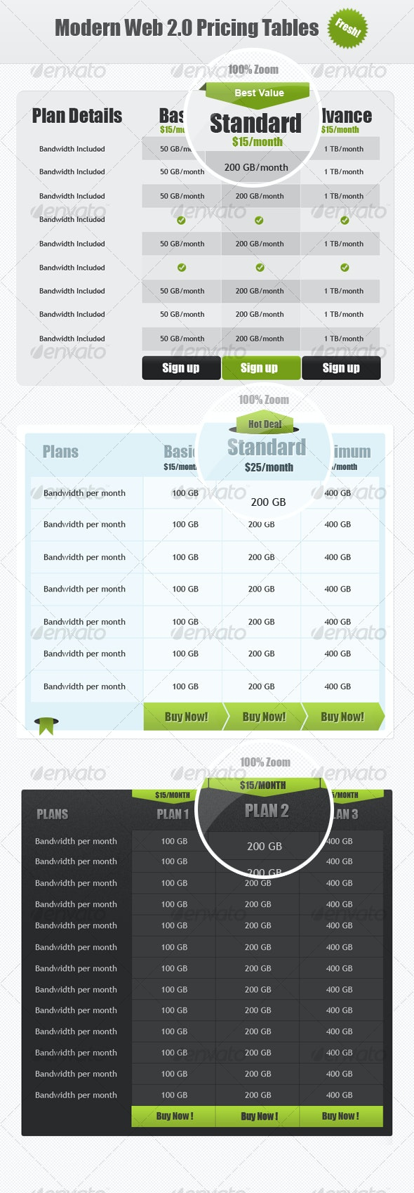Modern Web 2.0 Pricing Tables
