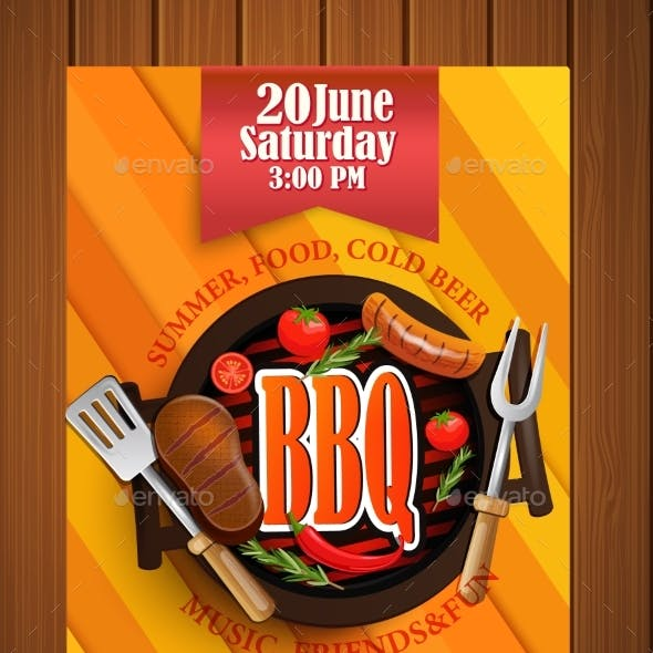 BBQ Grill Flyer With Elements.