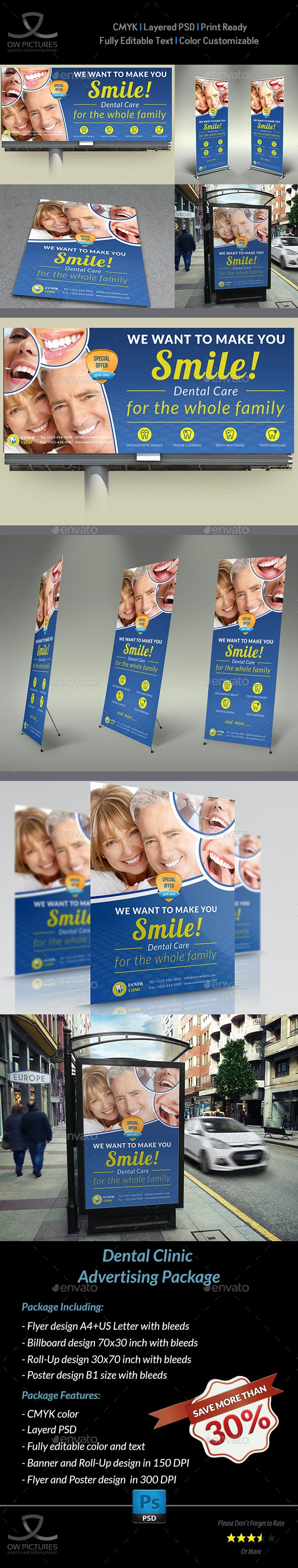 Dental Clinic Advertising Bundle - Signage Print Templates
