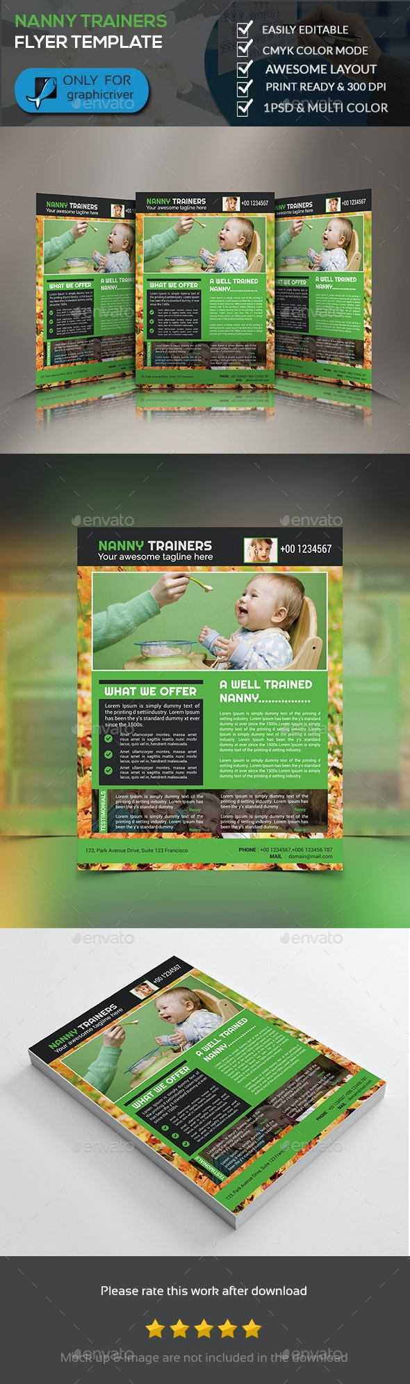 Nanny Trainer Flyer Template - Flyers Print Templates