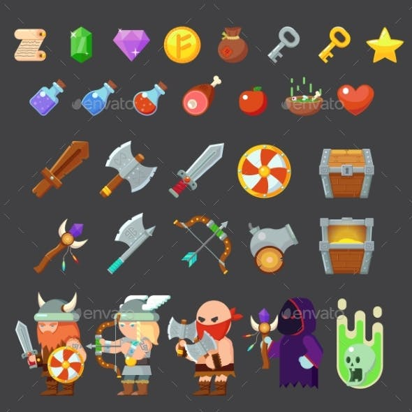 Game Icons Medieval Viking. Inventory, Heroes