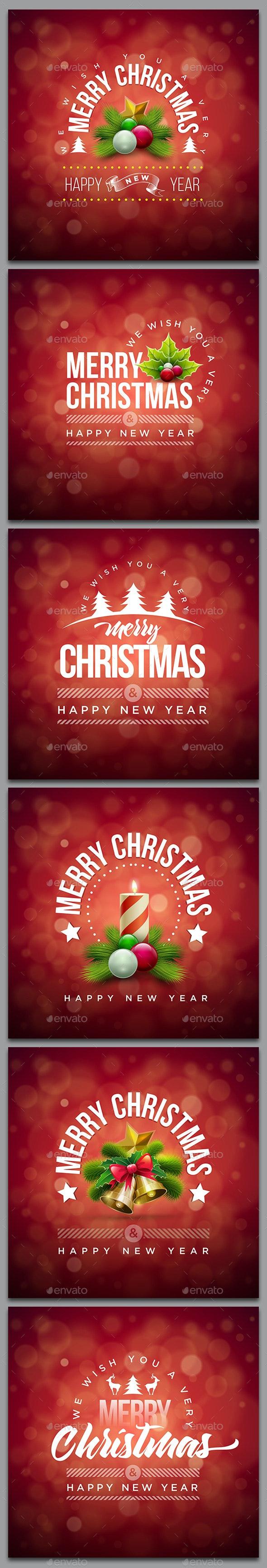Red Christmas Card Collection - Christmas Seasons/Holidays