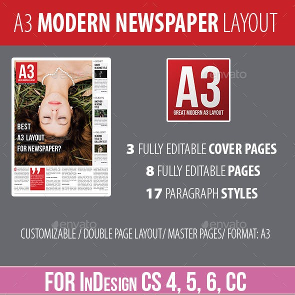 A3 - Modern Newspaper Layout for InDesign