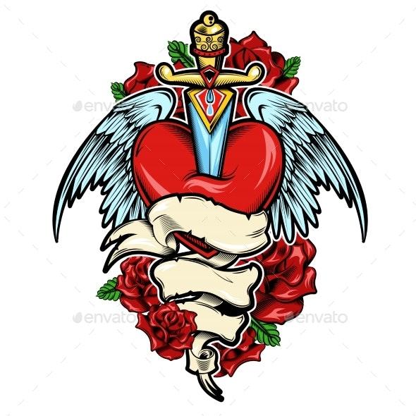 Broken Heart Tattoo Design - Tattoos Vectors