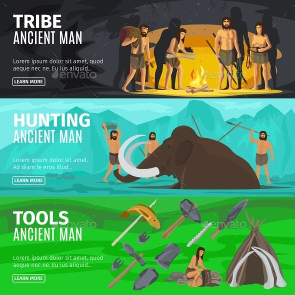 Stone Age Caveman Evolution Banners