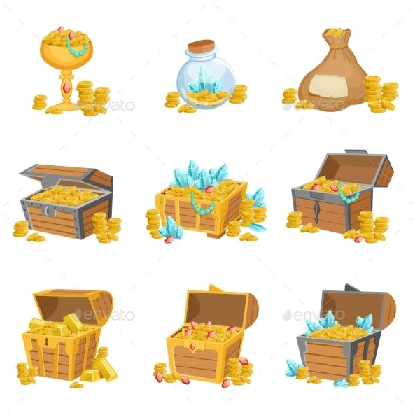 Treasure and Riches Set of Graphic Design Elements