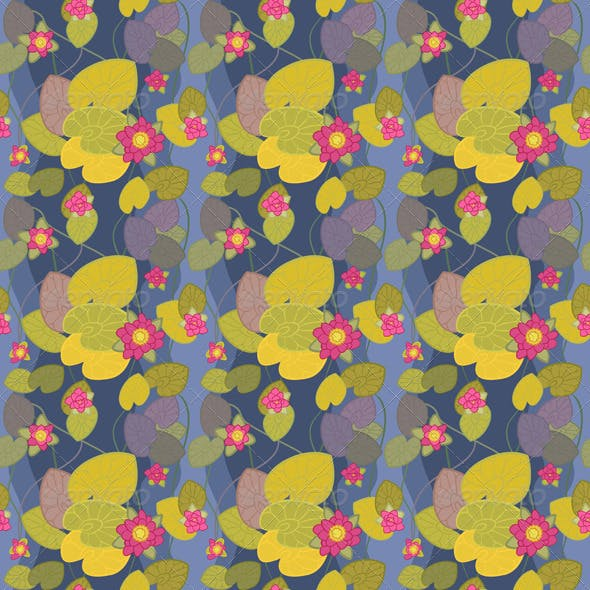 Seamless Pattern of a Beautiful Flower Pink Lotus