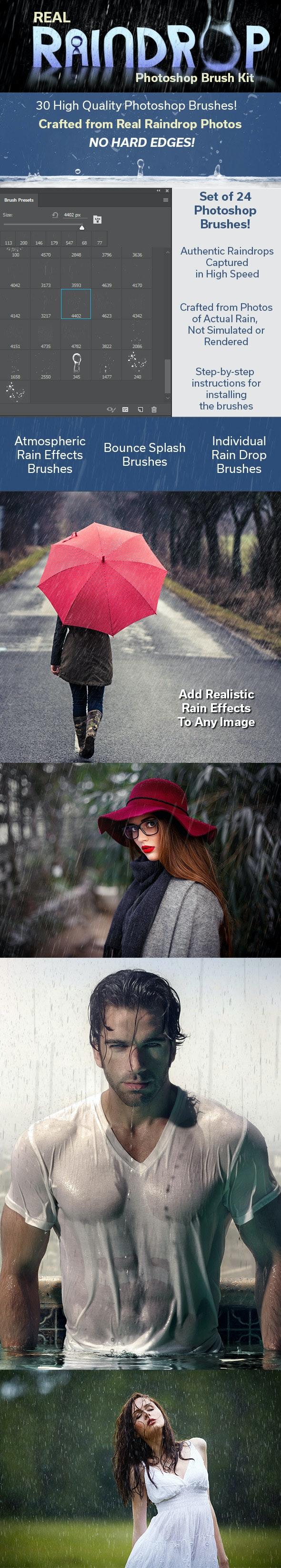 Real Raindrop Photoshop Brush Kit - Brushes Photoshop