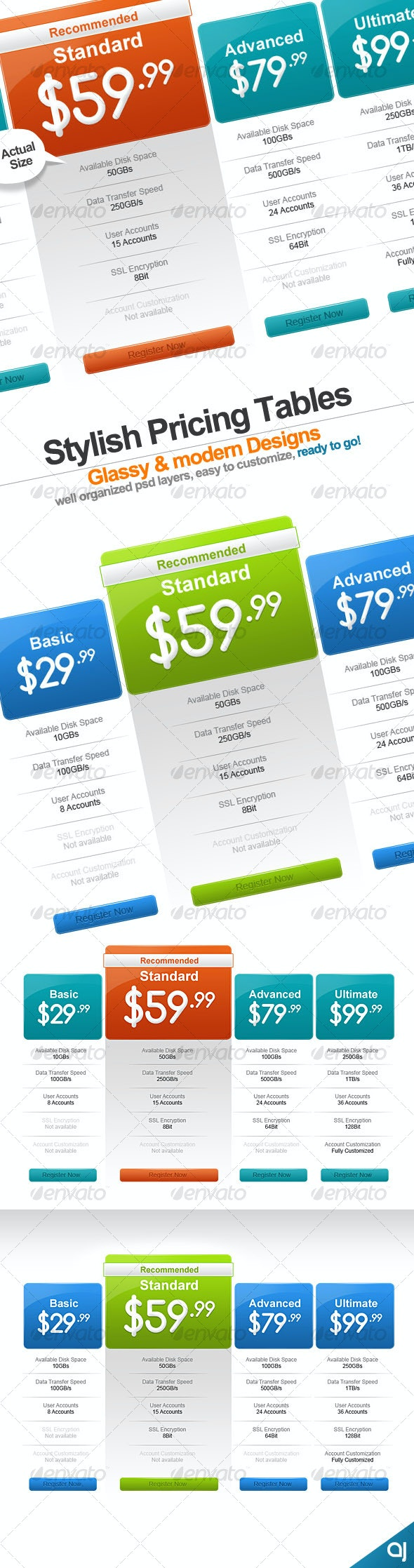 Stylish 2 pricing table designs - Web Elements