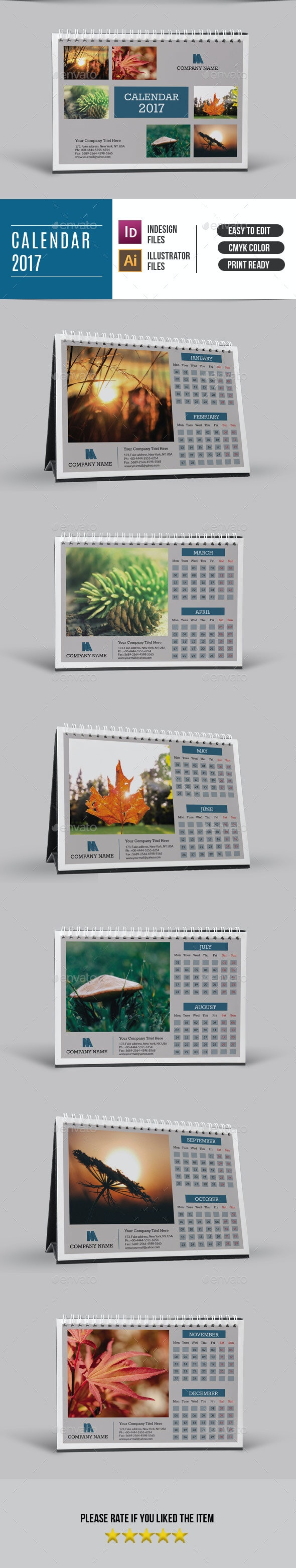 Desk Calendar Template for 2017 | Updated - Calendars Stationery