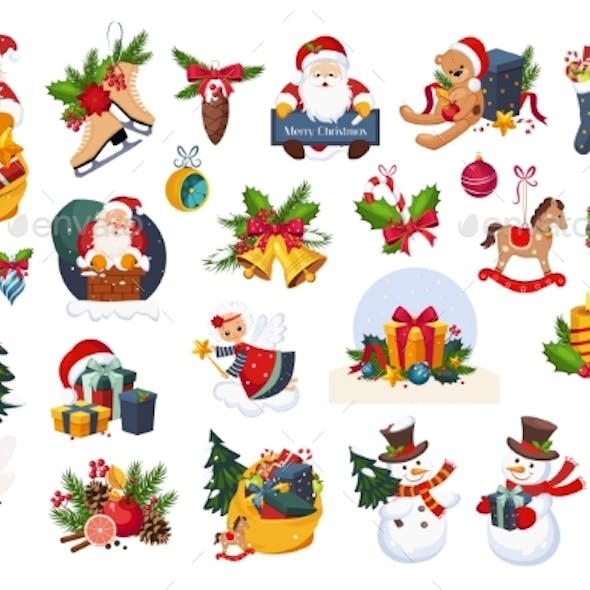Classic Christmas Stickers on White