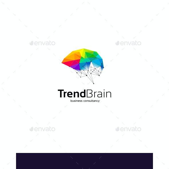 Polygonal Brain Technology Logo Template