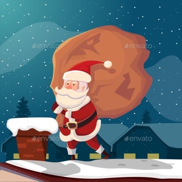 Santa Claus on Roof Illustration