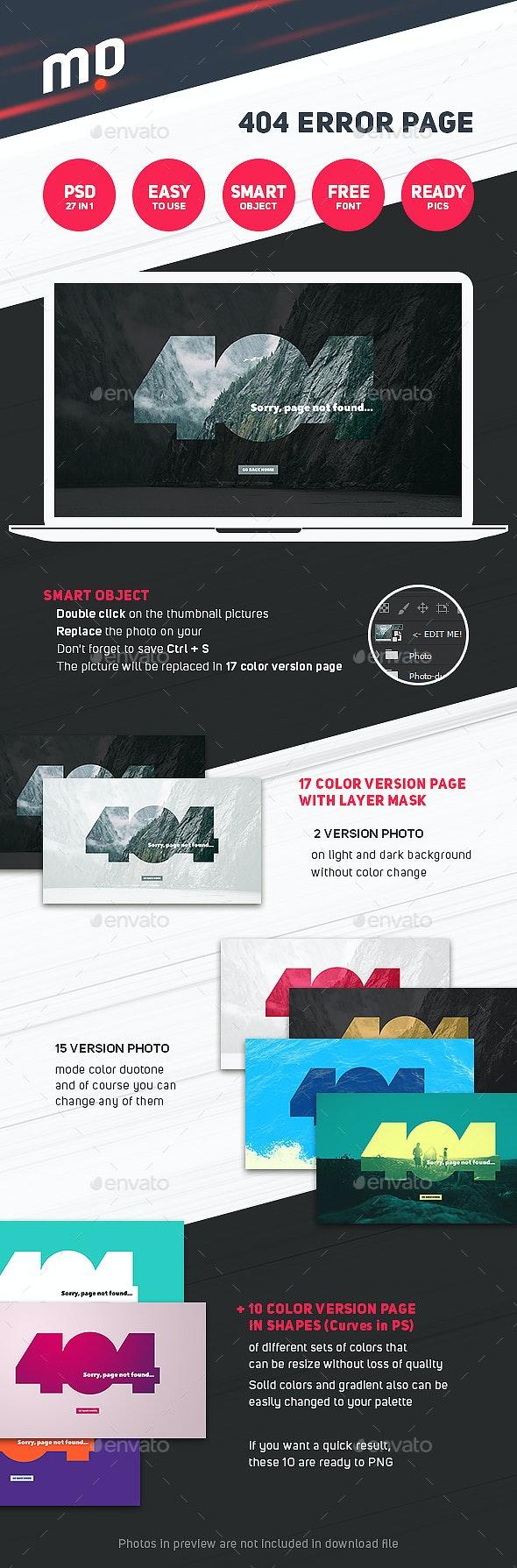 Big 404 Duotone Error - 404 Pages Web Elements