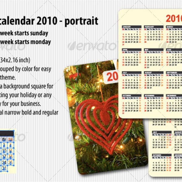 Pocket calendar 2010 portrait
