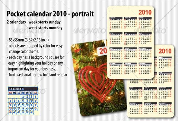 Pocket calendar 2010 portrait - Calendars Stationery