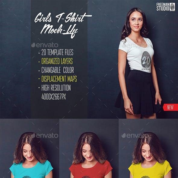 20 Top Girls T-Shirt Mock-Up