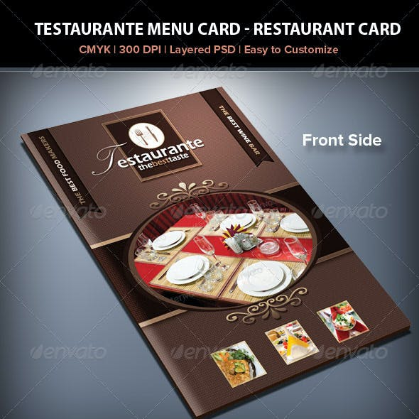 Testaurante Menu Card