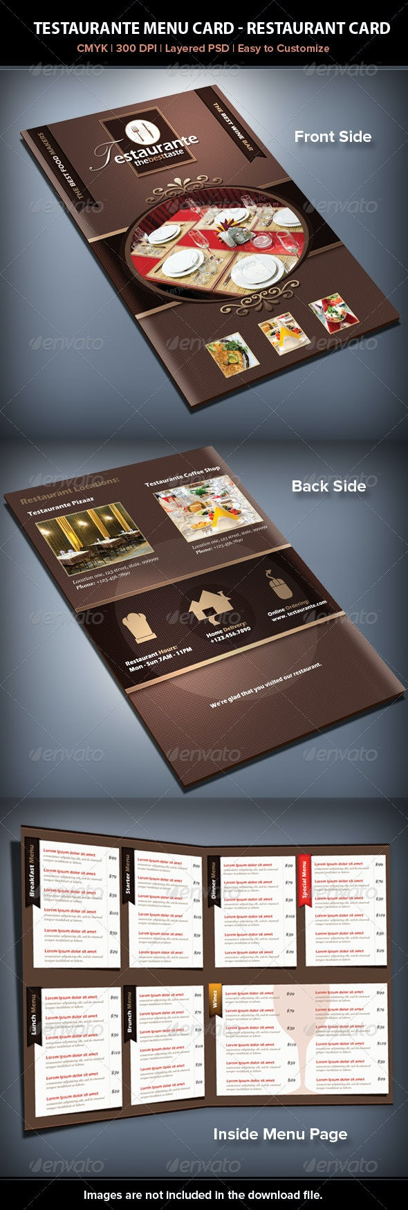 Testaurante Menu Card - Food Menus Print Templates