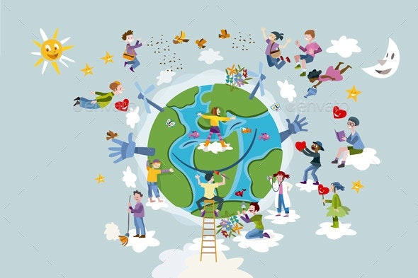 Children and Planet Earth - People Characters