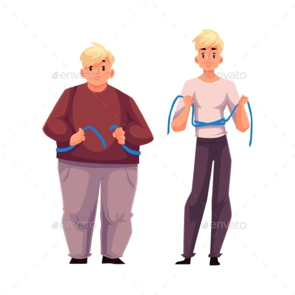 Two Men Fat and Athletic Measuring Waist