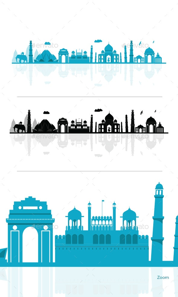 Cartoon Illustration Of India Skyline - Buildings Objects