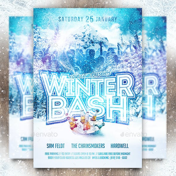 Winter Bash Party Flyer Template (+Facebook Timeline Cover)