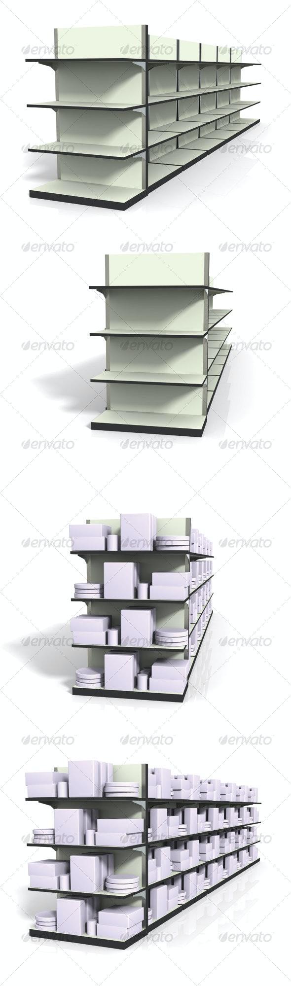 3D Shelf Set - Render 4 Pack - 3D Backgrounds