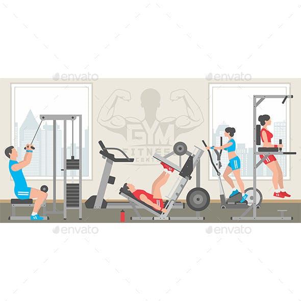 Flat Colorful Gym Interior