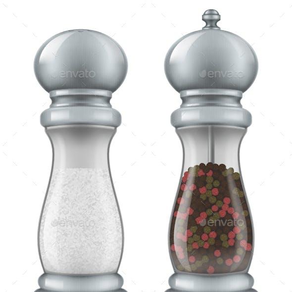 Salt and Pepper Mill Set.