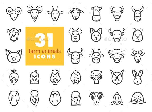 Farm animals outline icons set. Vector head