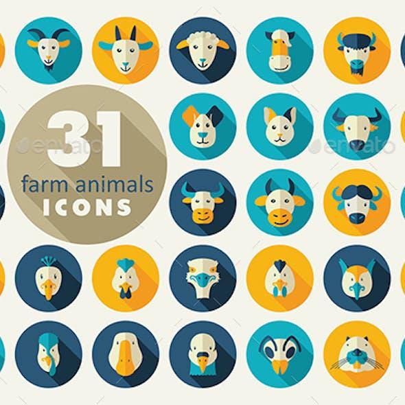Farm animals flat icons set. Vector head