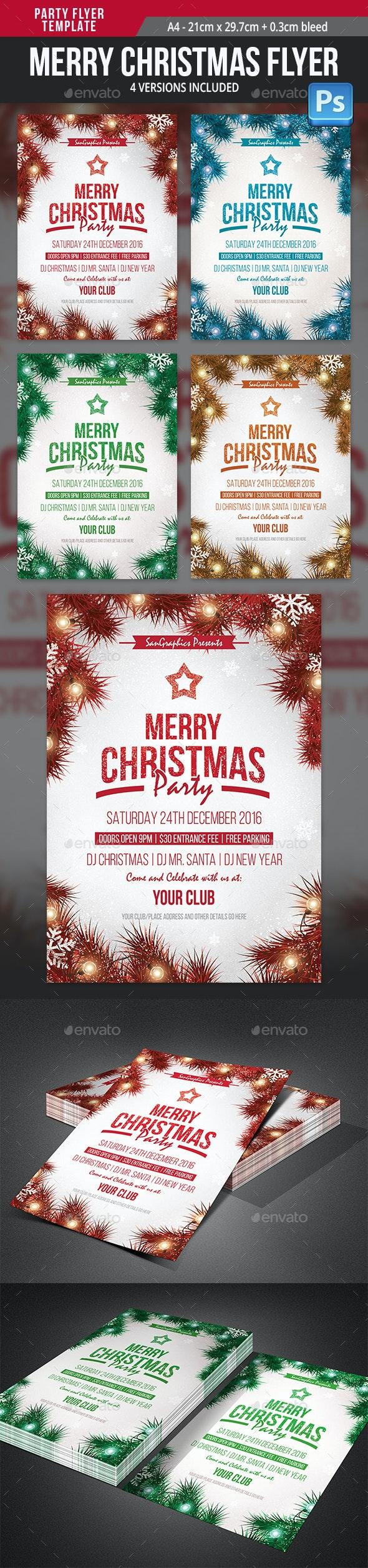 Merry Christmas Flyer Template - Flyers Print Templates