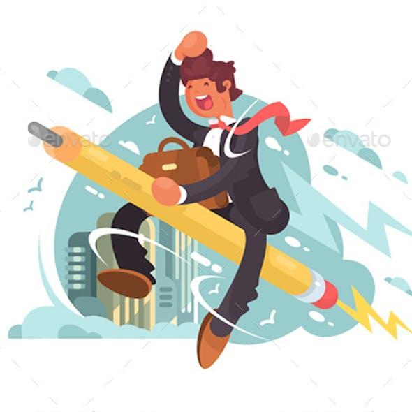 Businessman Flying on Pencil