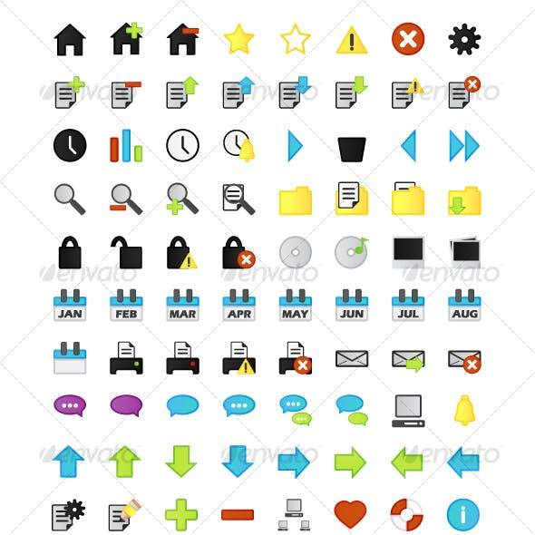 268 Outlined Web 2.0 Style App Icons / Web Buttons