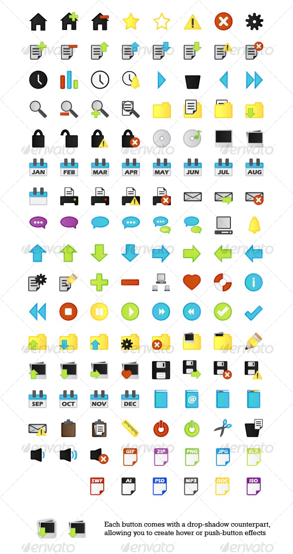 268 Outlined Web 2.0 Style App Icons / Web Buttons - Software Icons