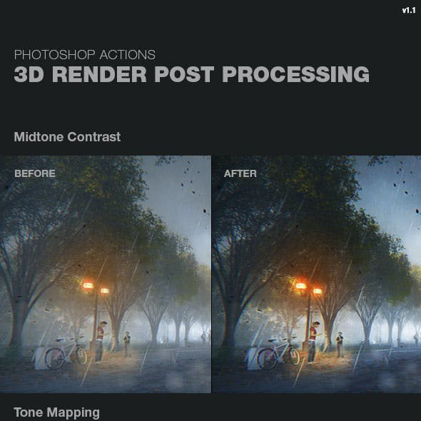 3D Render Post Processing Photoshop Actions