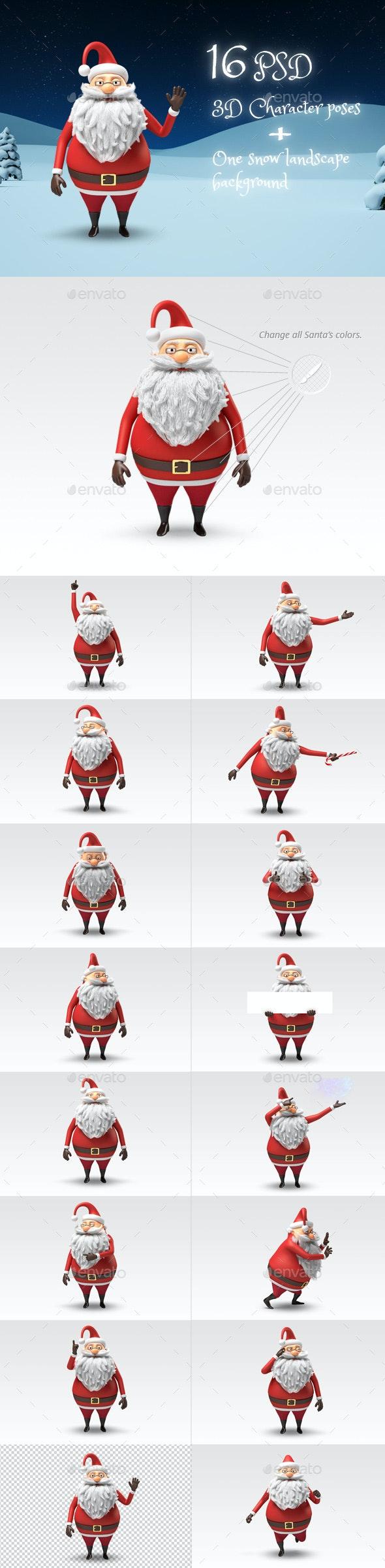Santa - Christmas 3D Character Stills - Characters 3D Renders