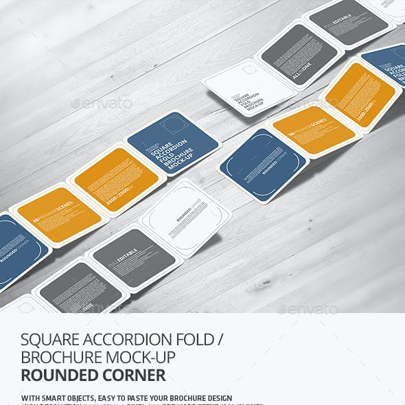 Square Accordion Fold Brochure Mock-Up - Rounded Corner