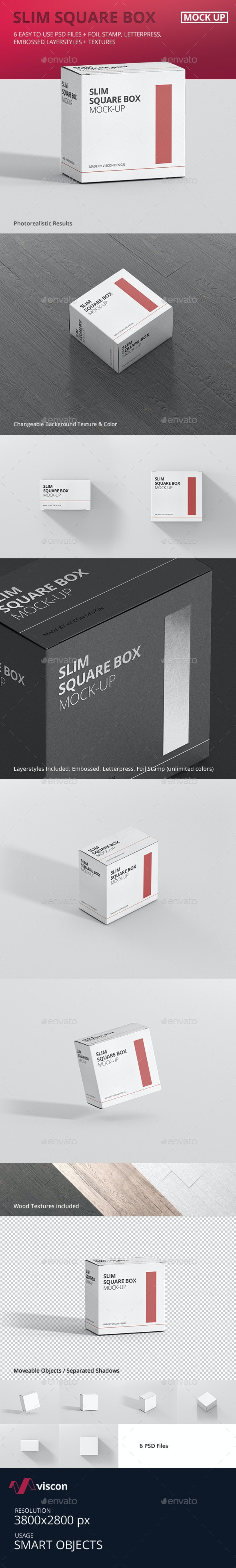 Package Box Mock-Up - Slim Square - Miscellaneous Packaging